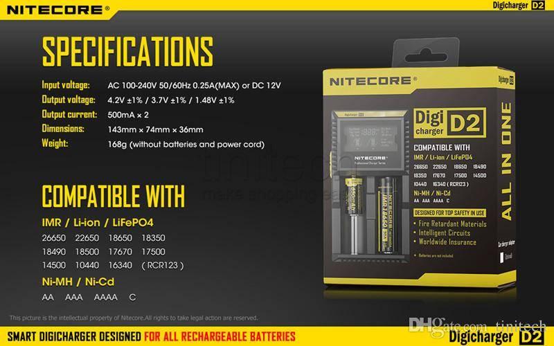 Nitecore Intellicharger D2 Lader med Display
